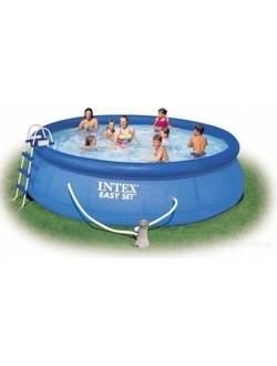28168/54916 Надувной бассейн Easy Set 457х122 cм, Intex+ фильтр-насос, лестница, подстилка, покрывало