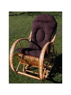 Кресло-качалка Koliber из плетеного ротанга с подушкой(светлое)
