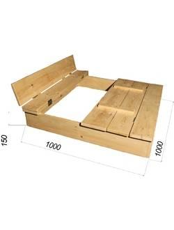 Песочница деревянная с1005 (1х1 м)