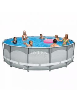 26310 Каркасный бассейн Ultra Frame 427х107см, Intex + фильтр-насос 3785л\ч, лестница, тент, подстилка