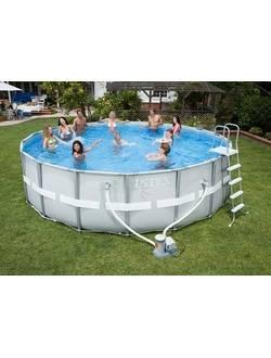 26322 Каркасный бассейн Ultra Frame 488х122см, Intex + фильтр-насос 5678л\ч, лестница, тент, подстилка