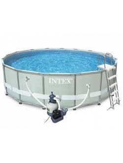 26324 Каркасный бассейн Ultra Frame 488х122см , Intex + песочный фильтр-насос 4500л\ч, лестница, тент, подстилка