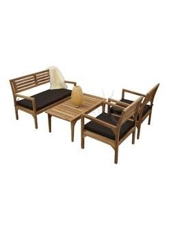 TIF-307/308/317 Комплект садовой мебели INDIA (1 диван, 2 кресла, 1 столик) Indoexim. Дерево: тик
