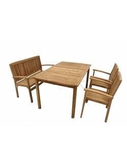 TGF-165/087/150 Комплект садовой мебели BALI (стол 150*90, скамья 120см, 2 кресла) Indoexim. Дерево: тик