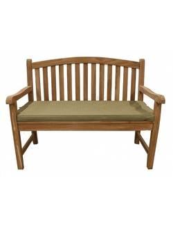 TGF-100А Садовая овальная скамья с подушкой Indoexim, дерево тик, 120см