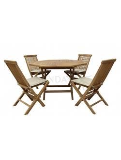 TGF-037/001SC Комплект садовой мебели OCTAGONAL COMFORT (4 стула, только сидение) Indoexim. Дерево: тик
