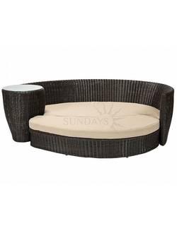 10461 Диван трансформер с приставным столиком и подушками VERDI, рама алюминий, искуственный ротанг, цвет черный