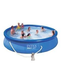 28164/54914 Надувной бассейн Easy Set 457х91 см, Intex + фильтр-насос, картриджный фильтр, лестница, подстилка, покрывало
