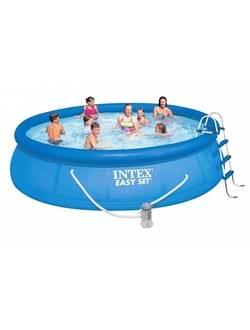 28166/54908 Надувной бассейн Easy Set 457х107 см, Intex + фильтр-насос, картриджный фильтр, лестница, подстилка, покрывало
