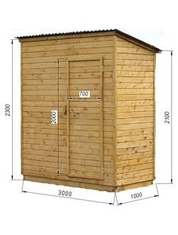 Хозблок одинарный деревянный С1003 (3000х1000)