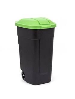 Контейнер для мусора на колесах REFUSE BIN 110 л, черный/зеленый
