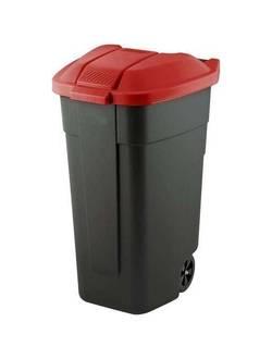 Контейнер для мусора на колёсах с цветной крышкой Segretation Bin 110L,чёрный/красный.