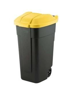 Контейнер для мусора на колёсах с цветной крышкой Segretation Bin 110L,чёрный/жёлтый.