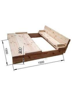 Песочница деревянная с1007 (1,5х1,5 м)