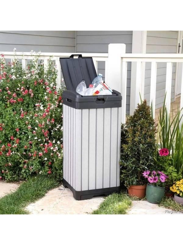 Контейнер для мусора уличный ROCKFORD BIN 125L, черный/серый