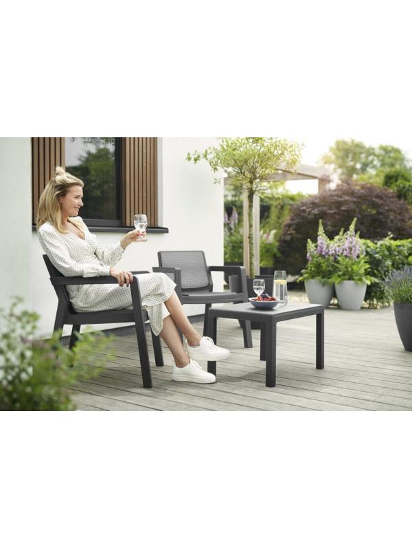 """Комплект мебели """"Emily 2 seater"""" (двухместный диван, 2 кресла, столик), графит"""