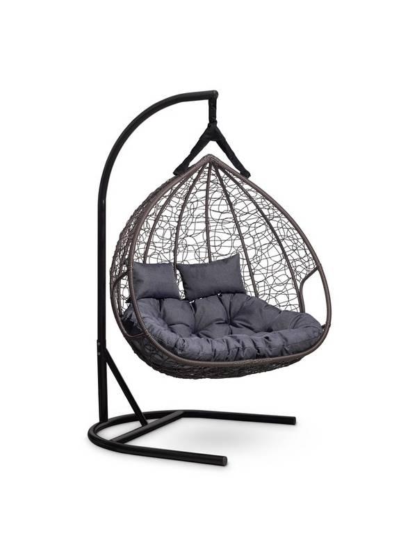 Подвесное двухместное кресло-кокон FISHT горячий шоколад кокон+серая подушка
