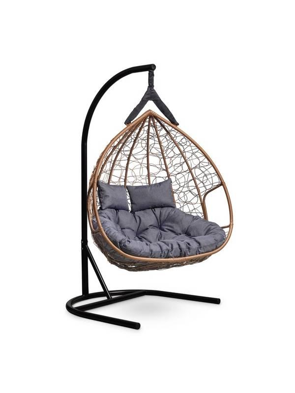 Подвесное двухместное кресло-кокон FISHT шоколадный кокон+серая подушка