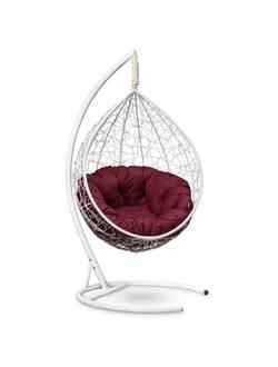 Подвесное кресло-кокон SEVILLA VERDE белый кокон+бордовая подушка