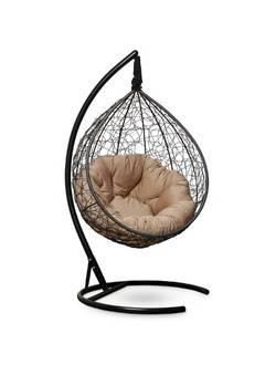 Подвесное кресло-кокон SEVILLA VERDE черный кокон+бежевая подушка