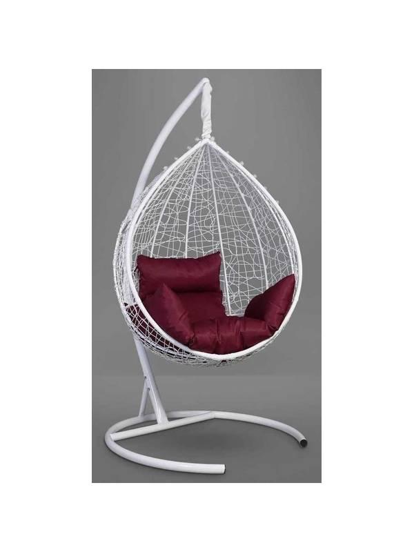 Подвесное кресло-кокон SEVILLA белый кокон+бордовая подушка