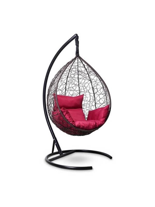Подвесное кресло-кокон SEVILLA шоколадный кокон+бордовая подушка
