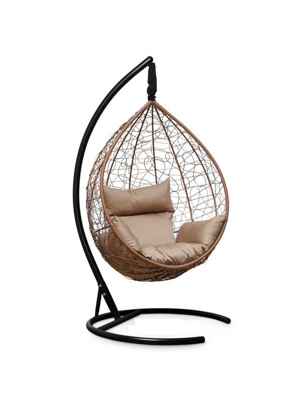 Подвесное кресло-кокон SEVILLA горячий шоколад кокон+бежевая подушка
