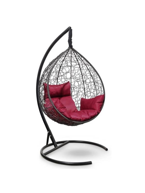 Подвесное кресло-кокон SEVILLA черный кокон+бордовая подушка
